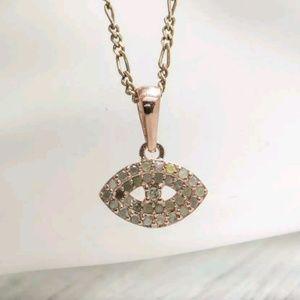 Genuine .16ctw Diamond Pave Pendant in 14K/925